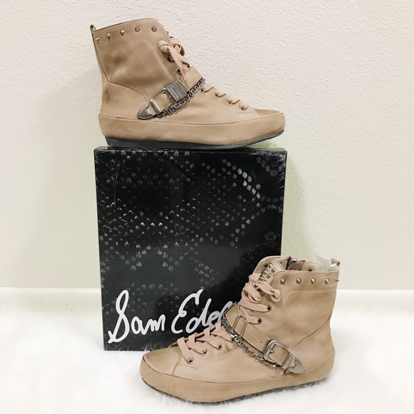 3a79a631d89f8 Sam Edelman Alexander Studded Distressed Sneakers